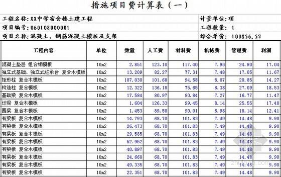 [安徽]学生公寓及食堂建筑安装工程预算书(含施工图纸)-措施项目费计算表