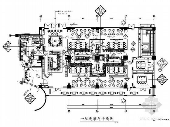 [深圳]品牌酒店法国西餐厅室内设计施工图