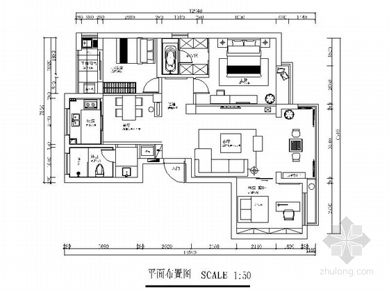 [吉林]经济技术开发区现代风格三居室样板间室内装饰施工图(含效果)