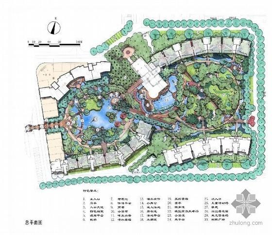 苏州某小区手绘景观设计平面