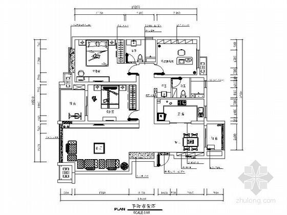 [南京]某大学教授三居室内装修图