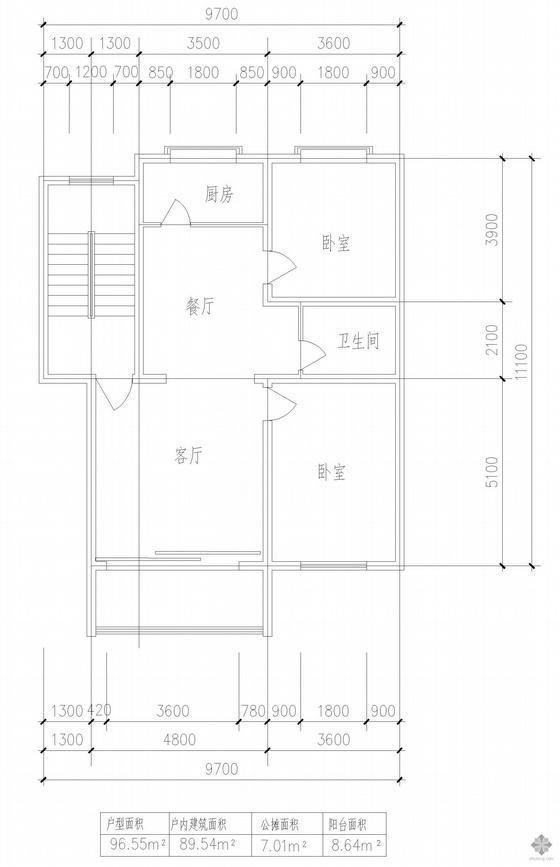 板式多层单户二室一厅一卫户型图(97)