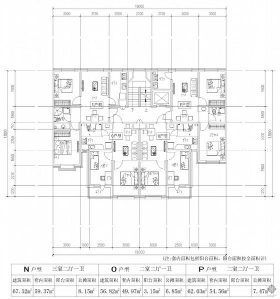 板式多层一梯四户户型图(68/57/57/62)