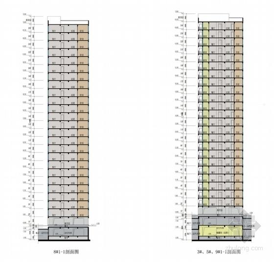 现代风格高层住宅区规划剖面图