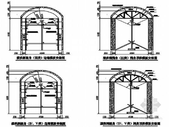 水库枢纽工程泄洪洞衬砌模板安装工程节点详图
