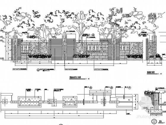 小区铁艺造型围墙施工图