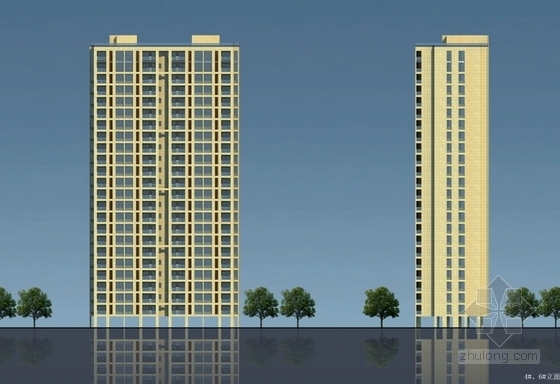 现代风格高层住宅区规划立面图