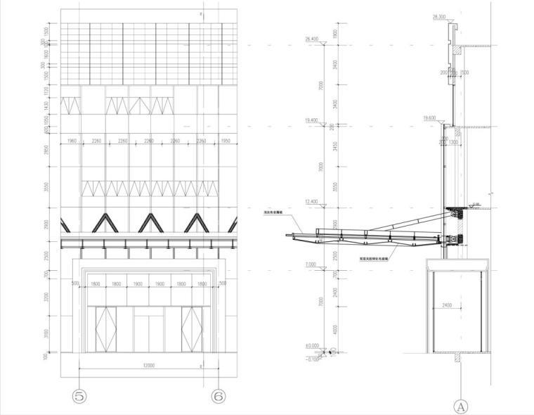 [重庆]高层知名玻璃幕墙酒店建筑立面设计施工图(含效果图)-高层知名玻璃幕墙酒店建筑详图
