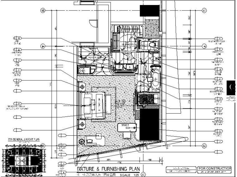 [深圳]知名豪华精选酒店客房设计施工图(含效果图)
