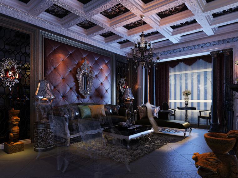欧式精美大气客厅3D模型下载