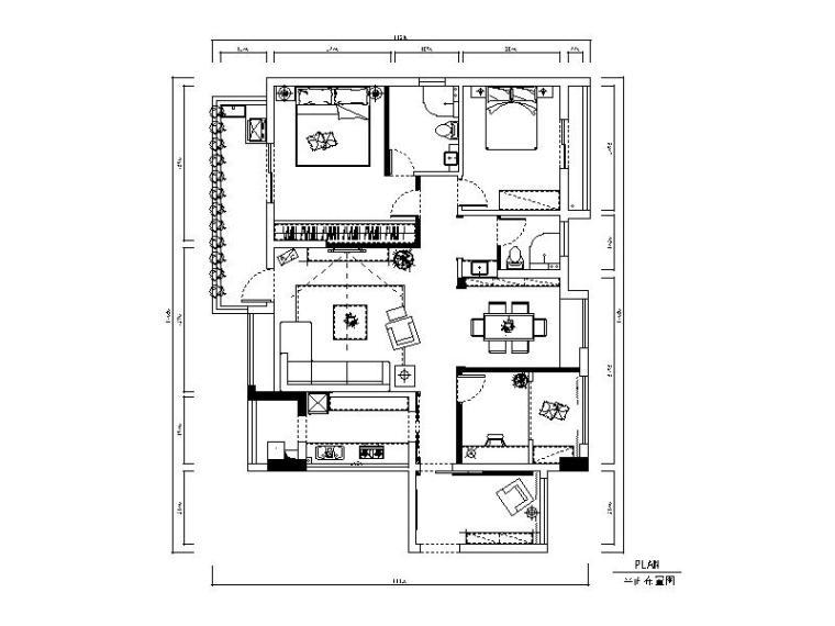 [上海]现代风格样板房设计CAD施工图(含效果图)