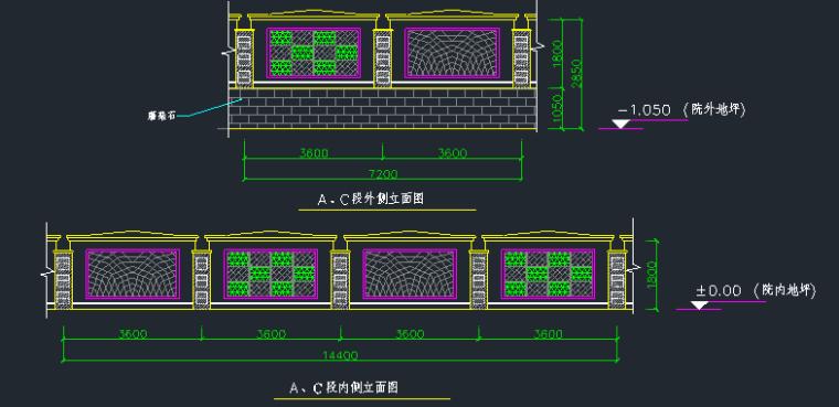 围墙铁艺栏杆方案CAD图_3
