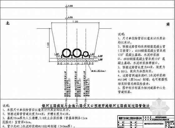 淄博某预埋过路管做法图