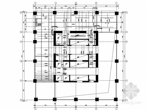 47层矩形钢管混凝土框架核心筒广场结构图(灌注桩筏板)