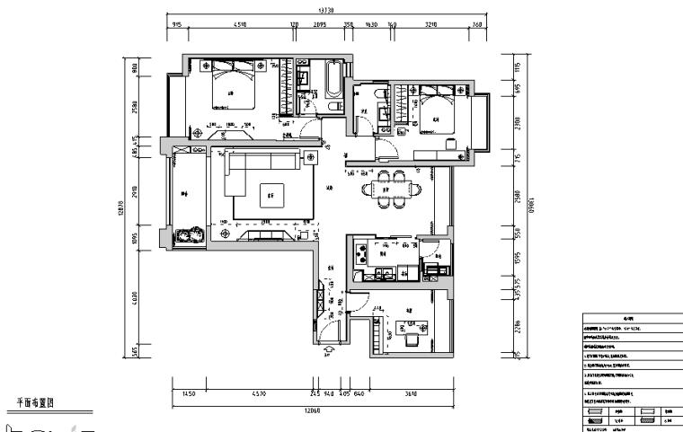 三居室现代简约风住宅设计施工图(附效果图)