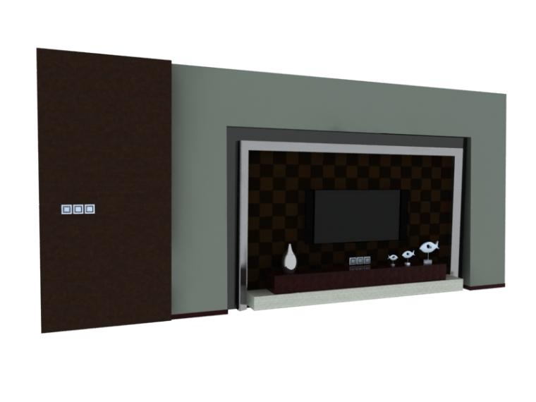 新中式电视墙3D模型下载