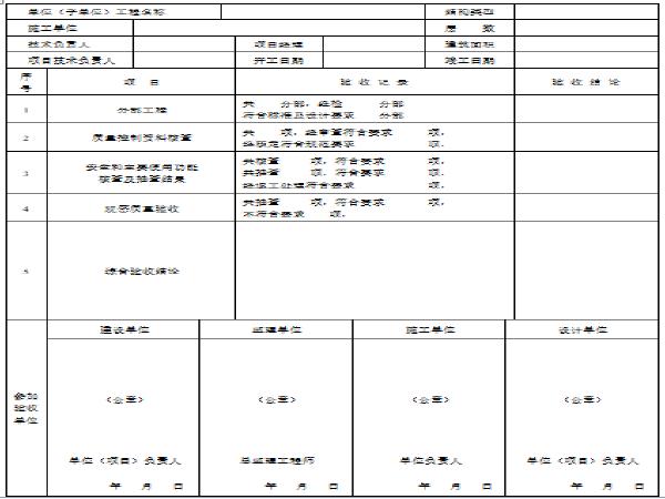 市政工程竣工验收表格(13页)