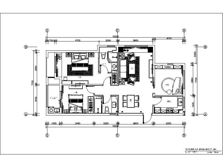 [杭州]欧式两居样板间室内设计施工图(含效果图+实景图)