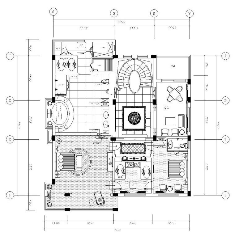 纯中式双层别墅室内装修施工图设计(附效果图)