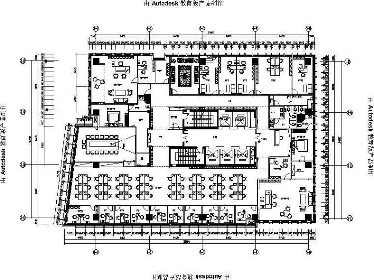 [广州]现代简约风格办公楼室内设计施工图(含效果图)