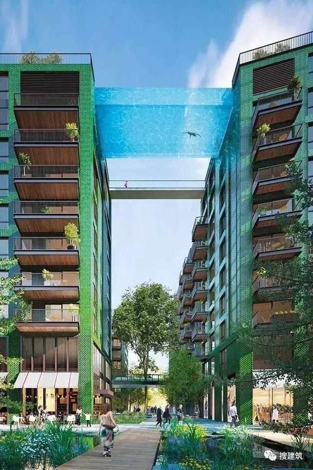 """27米长的""""空中泳池"""",在两栋大楼的第10层连接在一起,中间完全"""