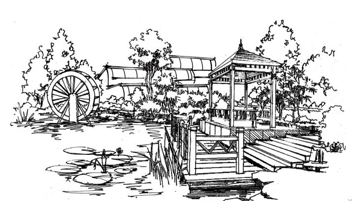 风景园林手绘线稿,可下载打印_8