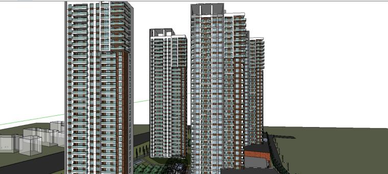 盛高居住小区模型方案设计(su模型)