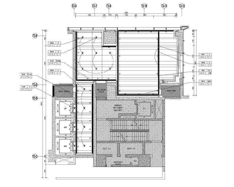 [深圳]华润大涌西塔T3公寓入户大堂+3套样板间施工图+物料表_4