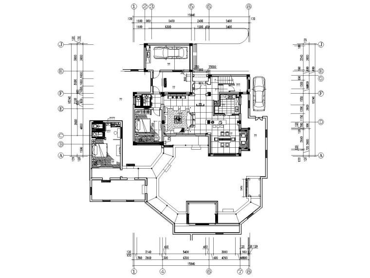 [江苏]新中式风格别墅样板间装修施工图(附效果图)