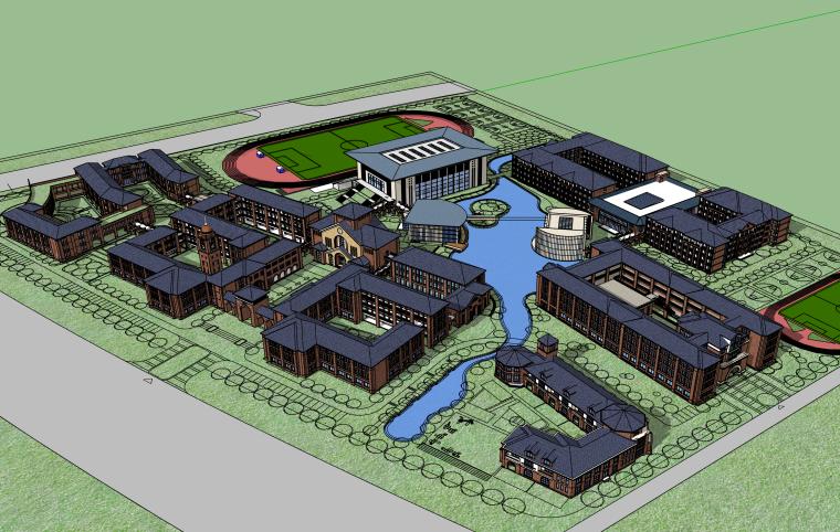 江苏欧式风格国际学校建筑SU模型