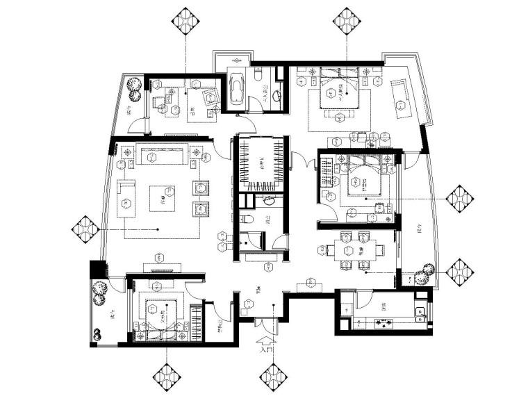 上海世纪花园欧式简约样板房装修施工图(附效果图)