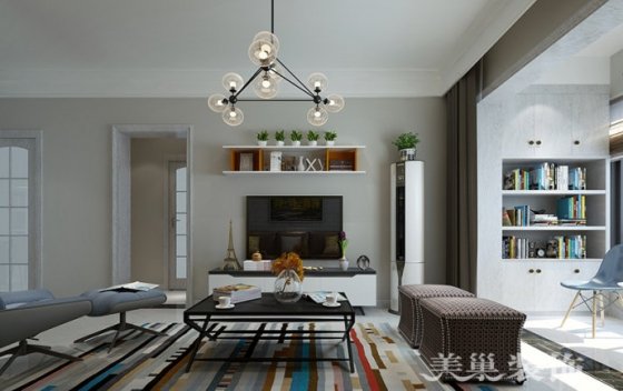 双河湾89平方两室两厅简欧风格案例装修效果图