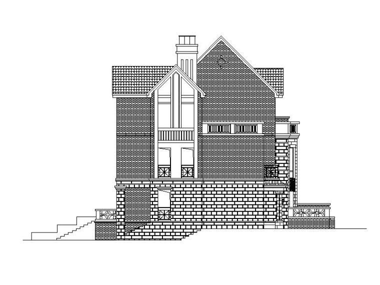 [四川]三层坡屋顶带阁楼联排式别墅建筑施工图