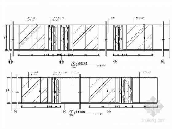 [南京]全国重点综合性历史艺术博物馆办公综合楼装修施工图走道立面图