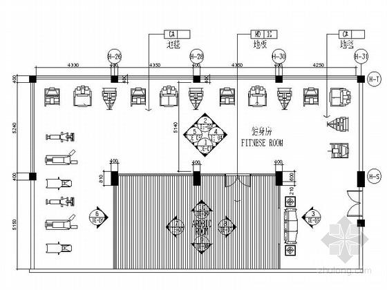 [江苏]超五星级酒店健身房装修设计CAD施工图(含效果)