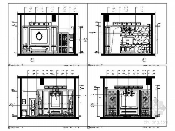 [浙江]高档商务欧式风格娱乐会所室内装修施工图(含效果)立面图