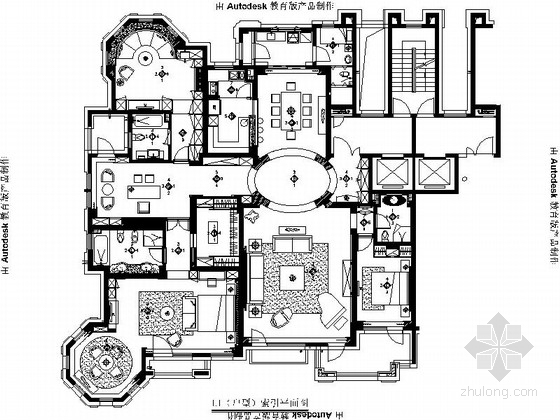 [辽宁]高档华丽现代风格三居室样板间室内装修施工图(含效果)