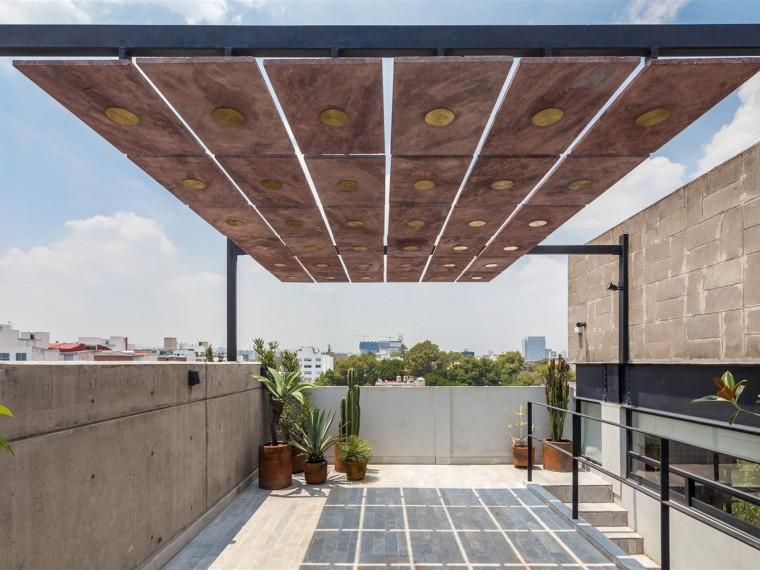 墨西哥火山岩石板屋顶平台