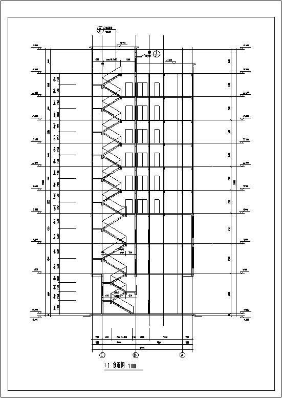 5套现代多层宾馆酒店建筑设计施工图CAD-现代多层宾馆酒店建筑楼梯间剖面图