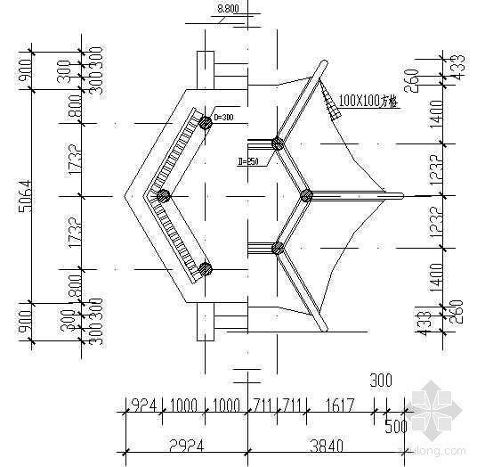 六角重檐古建亭详图-2