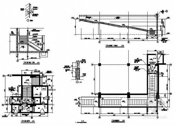 图书馆拆迁工程室外楼梯及自行车坡道节点构造详图