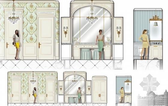 高级品牌国际连锁酒店室内设计方案女厕立面图
