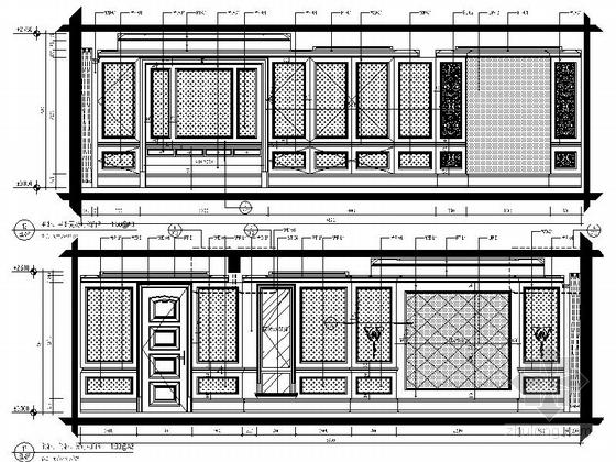 美式风格三居室设计装修图(含效果)主卧主卫立面图