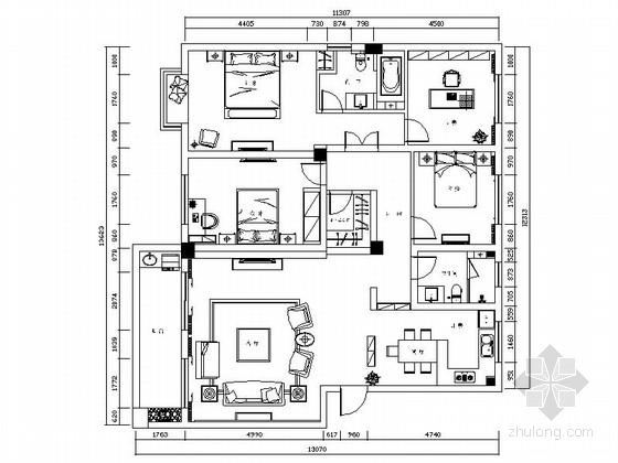 [绍兴]整洁时尚现代四居室设计CAD装修图(含效果)