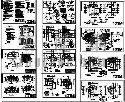 别墅的建筑结构水暖电全套图纸