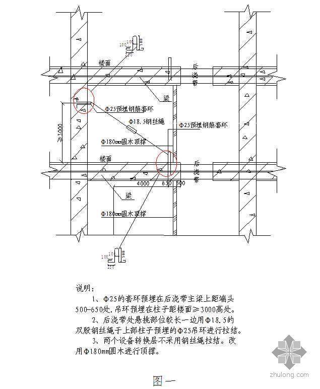 后浇带结构支撑采用钢索斜拉施工技术