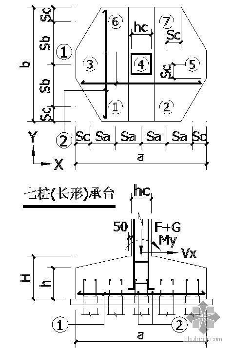 某七桩(长形)承台节点构造详图