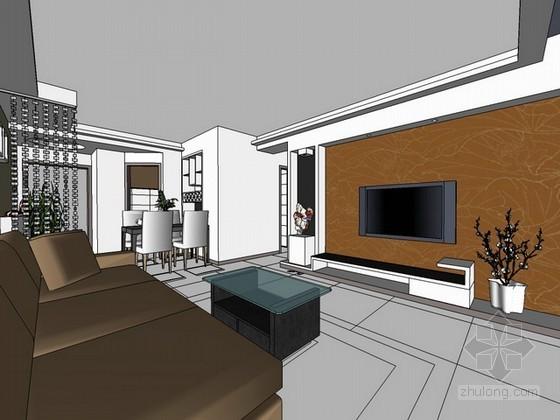 现代简约风格室内场景sketchup模型下载