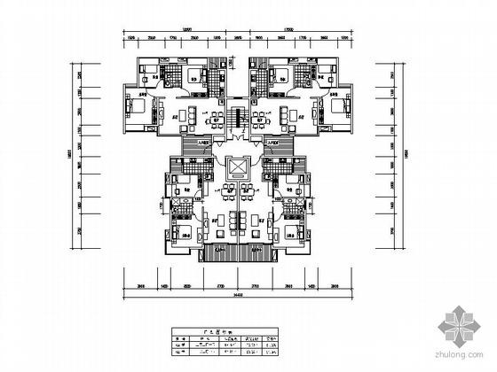 复式一梯二户户型图(105/105)