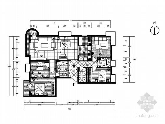 时尚混搭风两居室装修施工图(含效果图)
